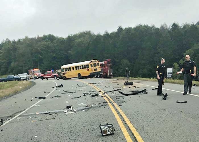 school bus driver hits house